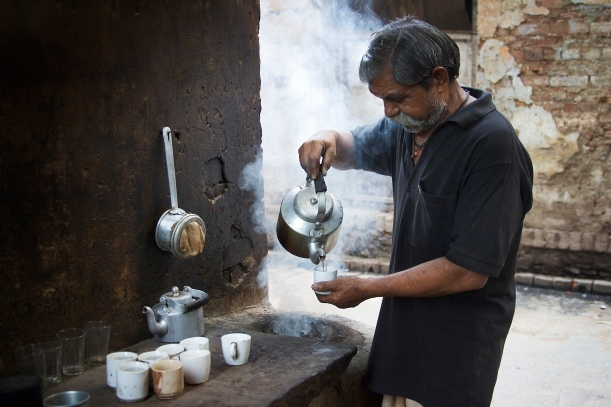 Tea Chai seller on the street, Varanasi Benares India